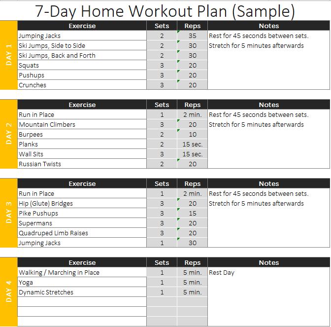 Sample Home Workout Plan