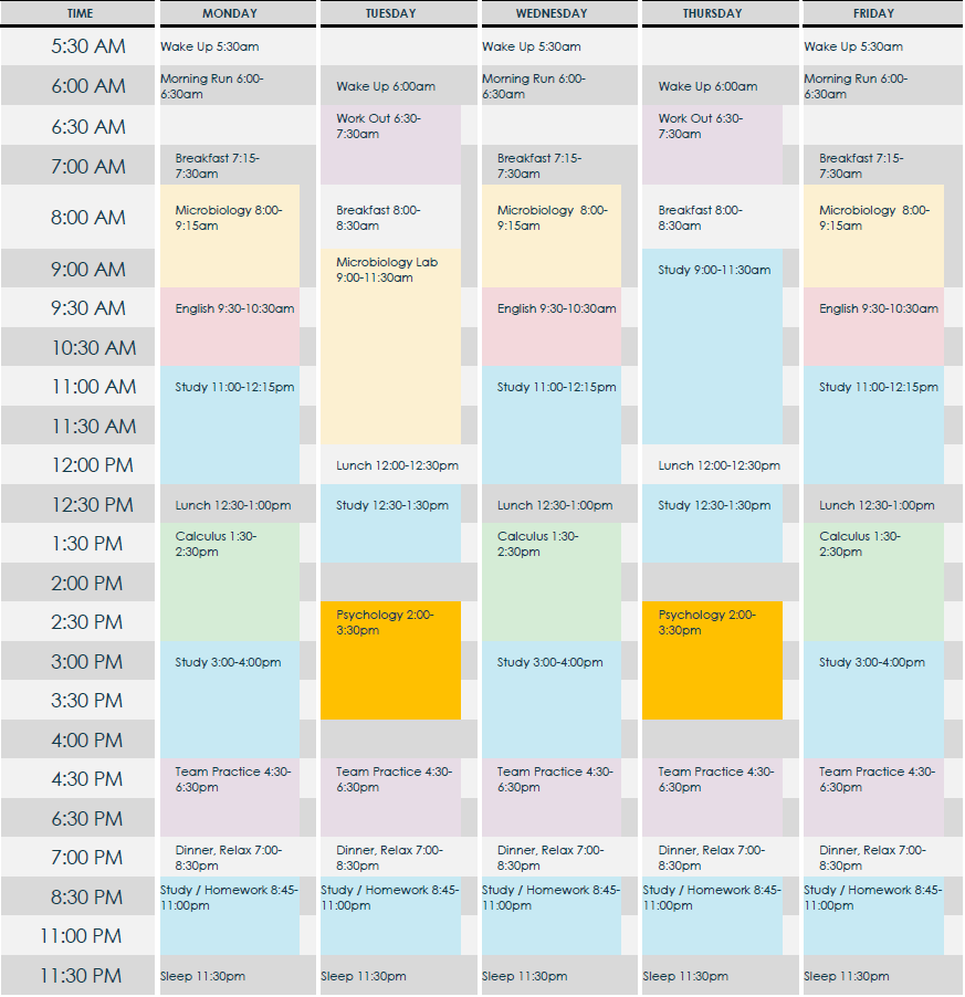 Sample Student Athlete Planner Plan your day