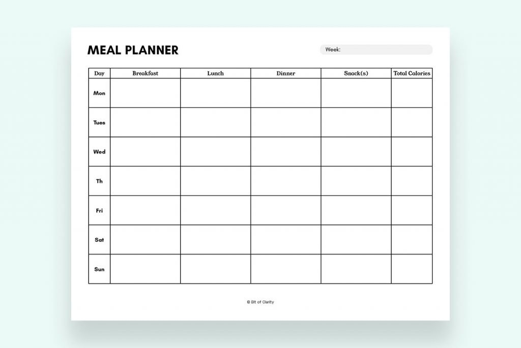 Meal Prep Planner Free Printable Bit of Clarity