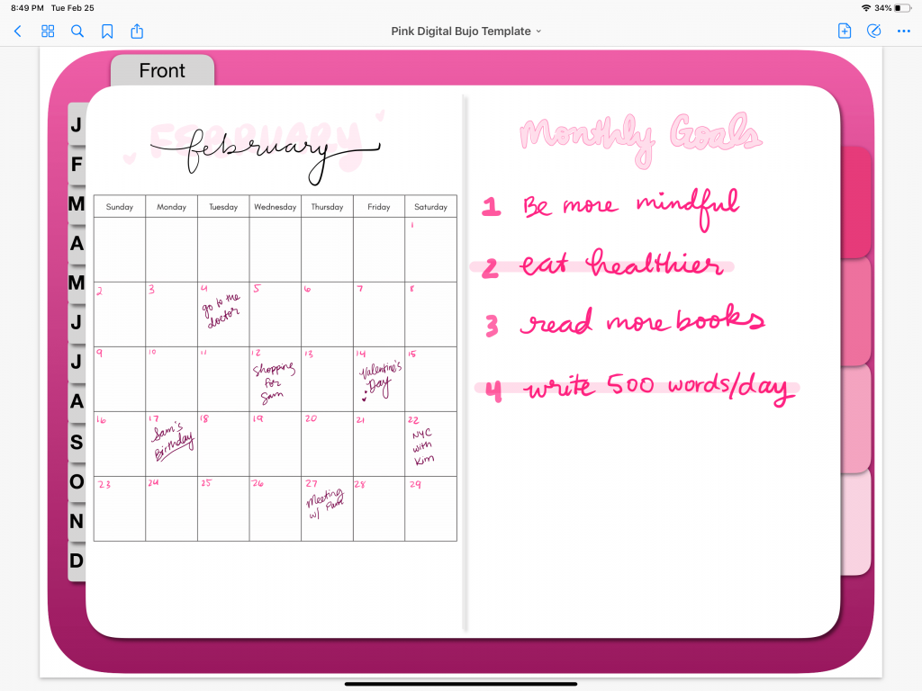 goodnotes monthly log