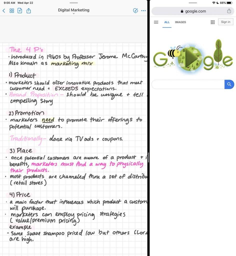 ipad study split screen