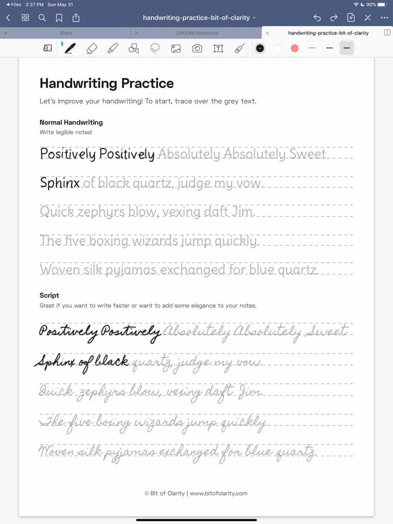 improve your handwriting on the ipad goodnotes worksheet