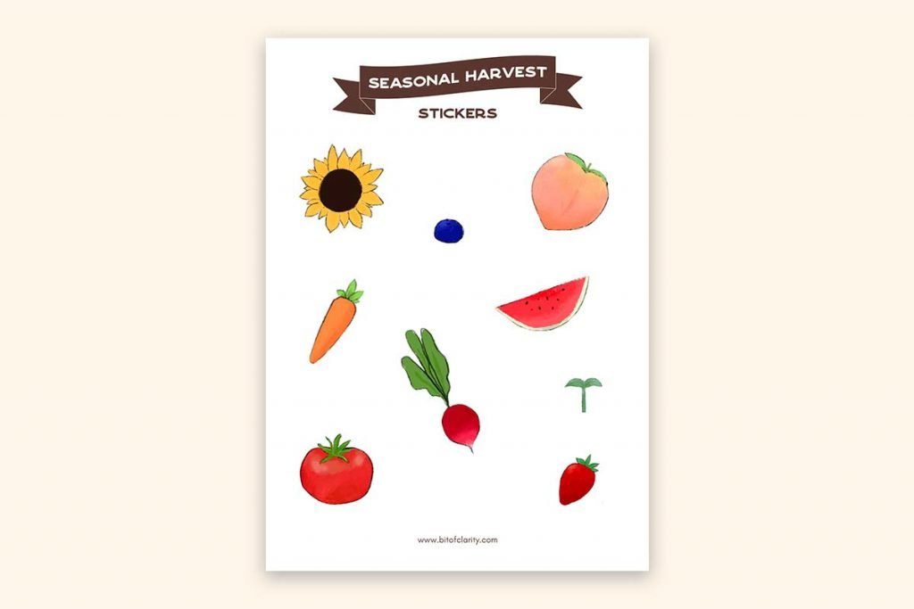 seasonal stickers harvest sticker sheet