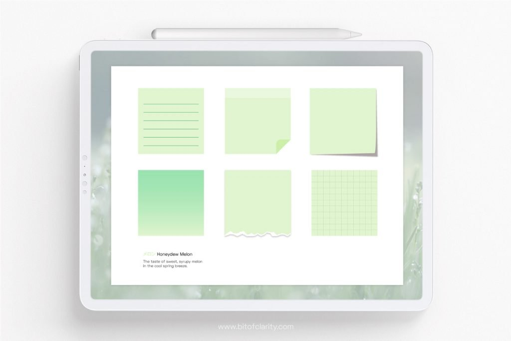 digital stickers honeydew melon sticky notes
