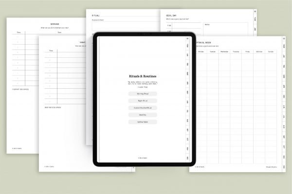 rituals and routine minimalist digital planner