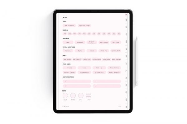 Clarity Planner Index Page in Cherry Blossom Pink