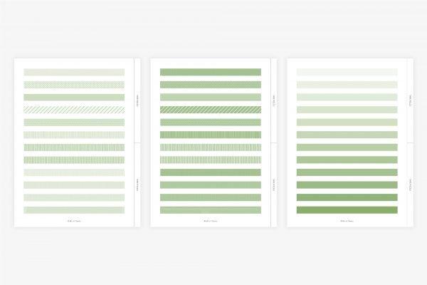 digital washi tape in matcha green showcase rolls